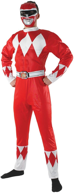 Herren Offiziell 90s Jahre rot rot rot Ranger Mighty Morphin Kostüm Kleid Outfit STD XL   Louis, ausführlich  4a5a1e