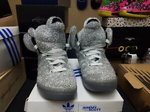wholesale dealer 8aeb3 1cb19 Details about Adidas ObyO Jeremy Scott JS Christmas Tinsel Bears SILVER  Limited SIZE 11 NEW