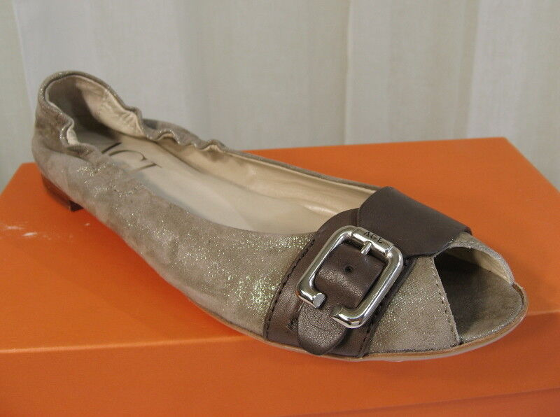 NIB AGL Peep Toe Belted Ginger Pebble Taupe Shimmer Leather Flat 41 11 ATTILIO