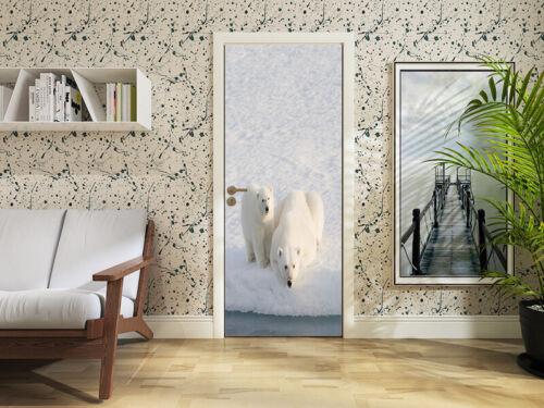 3D Polar Bears Self-adhesive Door Sticker Waterproof Mural Decal Decor Wallpaper