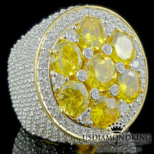 ICED OUT MEN'S BIG BOLD YELLOW GOLD OVER STERLING SILVER CLUSTER PINKY RING BAND