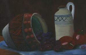 POTTERY KITCHEN STILL LIFE PURPLE GRAPES RED APPLES EARTHENWARE OIL PAINTING