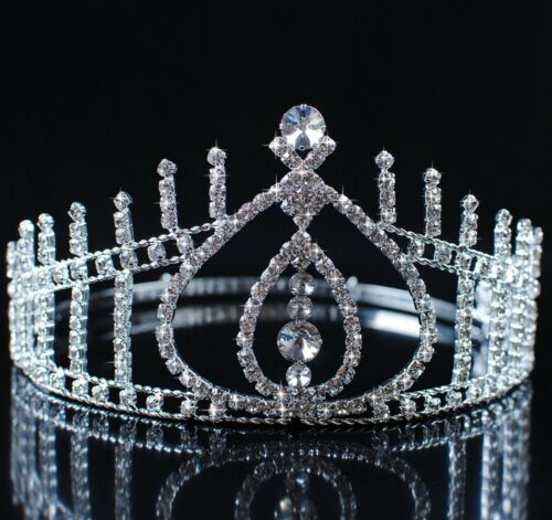 Beauty Contest Pageant Tiara Wedding Bridal Crown Clear Rhinestones Prom Party