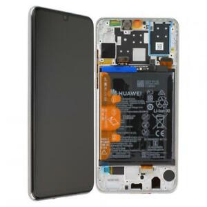 D-039-origine-Huawei-p30-Lite-ecran-LCD-avec-cadre-batterie-mar-lx1m-Blanc-White