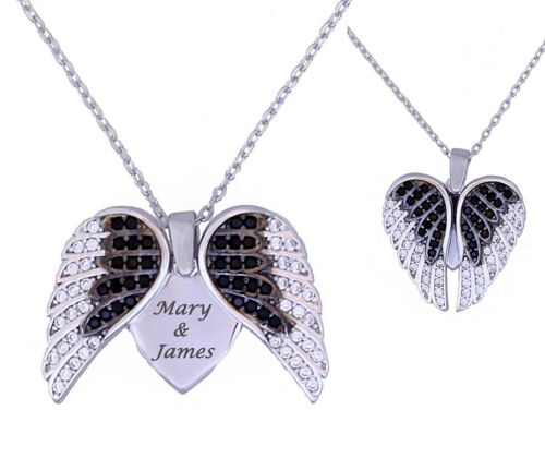 Personalized 925 Sterling Silver Wing Heart Necklace