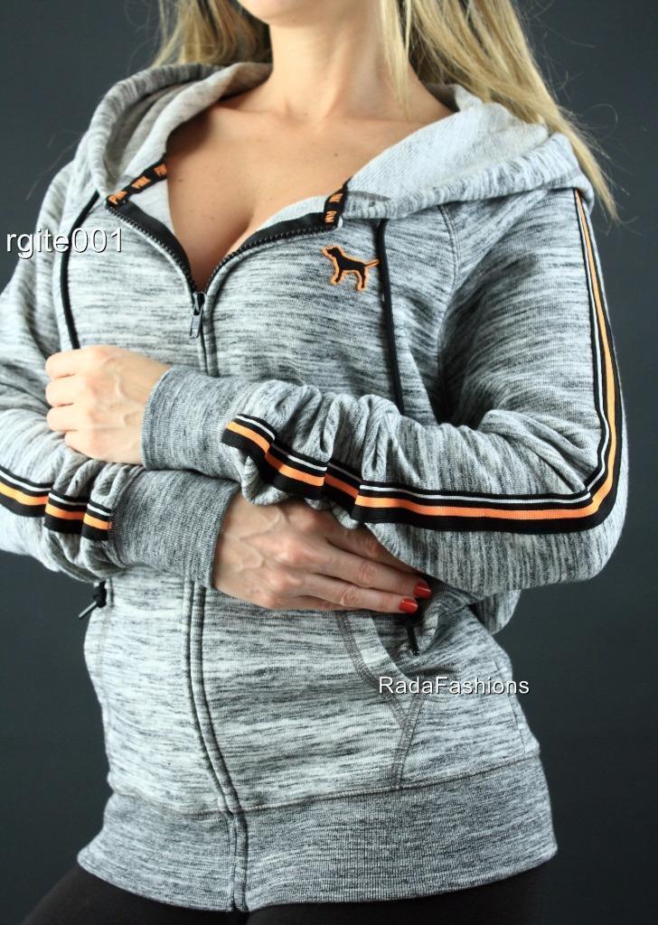 Victoria's Secret PINK Hoodie Sweatshirt Full Zip Up Perfect Logo Logo Logo NWT 9b48d3