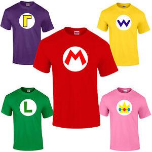 Mario-Bros-Character-Logo-T-shirt-Luigi-Wario-Waluigi-Peach-Retro-Gaming-Unisex