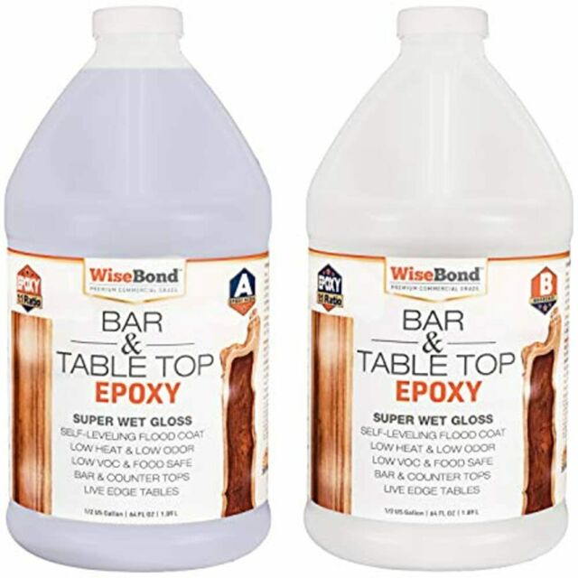 WiseBond Crystal Clear Bar Table Top Super Wet Gloss Epoxy ...