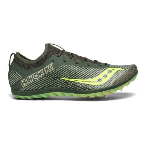 SAUCONY Men/'s Havok XC2 Cross Country Track Spike Shoe Green//Citron $85