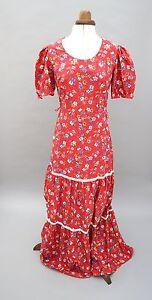 """De Colección """"Denise"""" Flower Power Boho Maxi Vestido Hippy década de 1970 años 70 Pradera UK 10 (G)"""