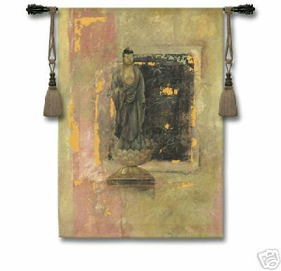 Golden Bamboo Eastern Buddha Picture Asian Tapestry 37 x52