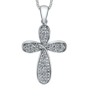 Sterling-Silver-Cubic-Zirconia-Cross-CZ-Pendant-Necklace-with-18-034-Silver-Chain