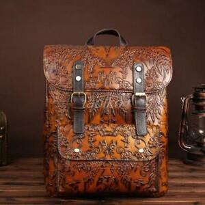Retro-Women-039-s-Vintage-Brown-Genuine-Leather-Backpack-Travel-Bag-Embossed-Handbag