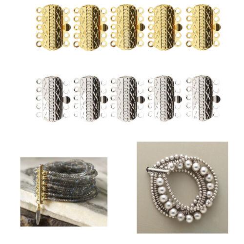 10x 5 STRAND PUSH SLIDE LOCK CLASPS Bracelet Necklace DIY Jewelry Findings