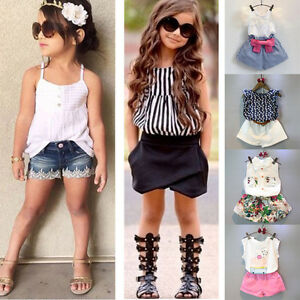 aace341e2 2PCS Child Kids Toddler Baby Girls Clothes T-shirt Tops+Shorts Pants ...