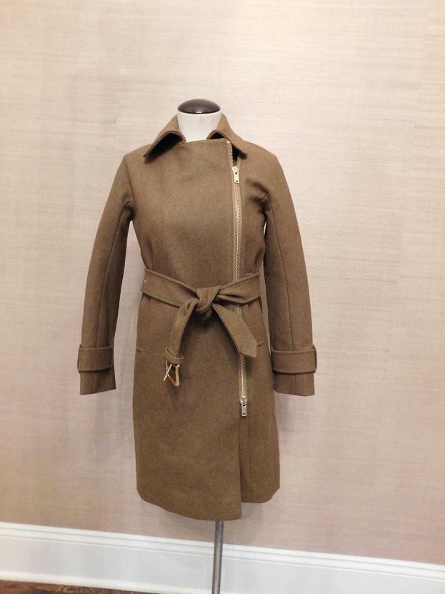 JCrew  Belted Zip Trench Coat Wool Melton Sz 16 Hthr Olive Green E4396 AVL