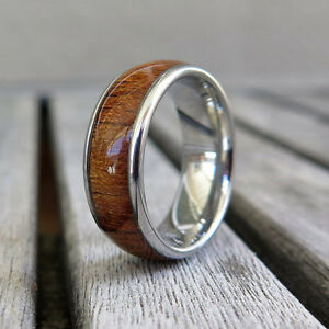 8mm Hawaiian Koa Wood Stainless Steel Ring Wood Wedding Engagement Band #6