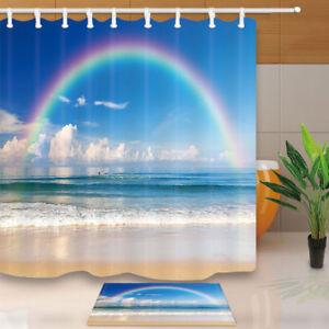 Image Is Loading Beach And Rainbow Shower Curtain Bathroom Decor Fabric