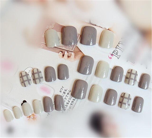 24pcs Milk Gray Color Elegant Short Fake Nails Artificial Natural ...