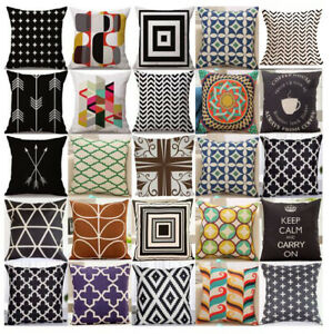 Geometrique-Vintage-Lin-Taie-d-039-oreiller-Canape-Throw-Cushion-Cover-Maison-Voiture-decoration