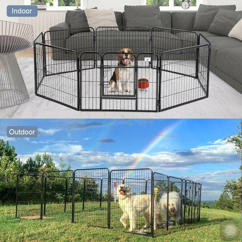 32'' Heavy Duty 8 Panel Metal Cage Crate Pet Dog Exercise Fe