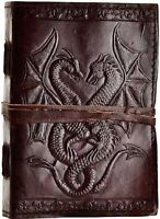 Double Dragon Leather Blank Book Journal Diary Wicca Wiccan Pagan Mysticism