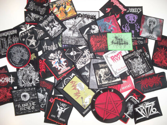 LOTS OF 4 WOVEN DIE-HARD METAL PATCHES, 103 designs (Nuclear War Now)