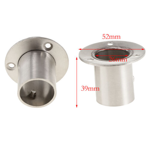 2Kleiderstange Kleiderschrank Rohrhalterung für Wandschrank,Garderobe52x39mm