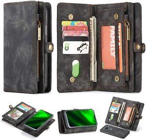 Motorola-Moto-G7-Puissance-Etui-portefeuille-en-cuir-flip-stand-Housse-Zipper-poche-noir