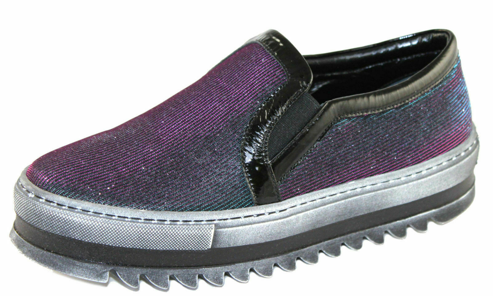 Spaziomoda womens loafers slip - on sneakers size 38 s603 black purple