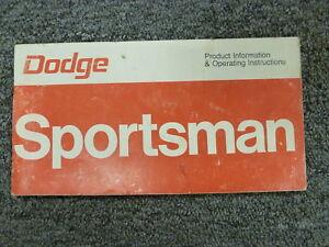 1976 Dodge Sportsman Motorhome Camper Owner Owner's Manual User