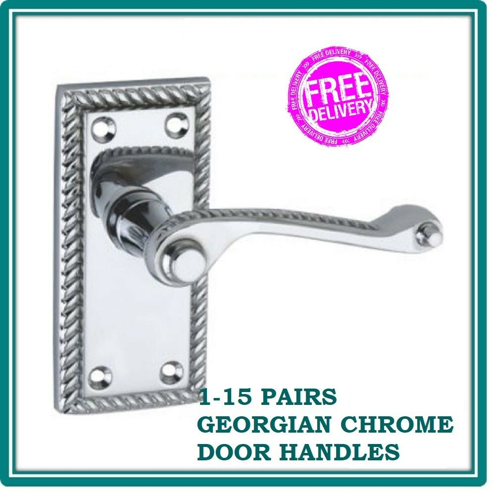 GEORGIAN ROPE CHROME INTERIOR LATCH DOOR HANDLES FREE DELIVERY D1