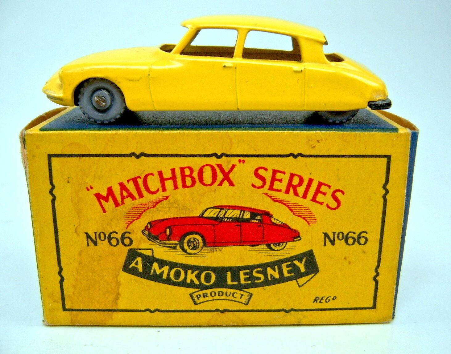 MATCHBOX MATCHBOX MATCHBOX RW 66a CITROEN DS GIALLO RARE 1. stampo in  Moko  BOX 3ff2f4