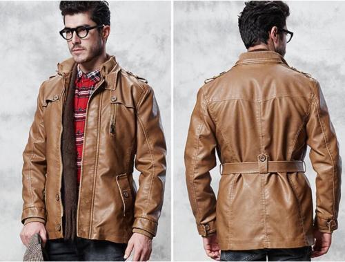 Mens Winter Slim Long PU Overcoat Warm Parka Outwear Trench Coats