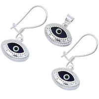 Dark Blue Evil Eye .925 Sterling Silver Earring And Pendant Set on sale