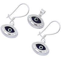 Dark Blue Evil Eye .925 Sterling Silver Earring And Pendant Set on sale