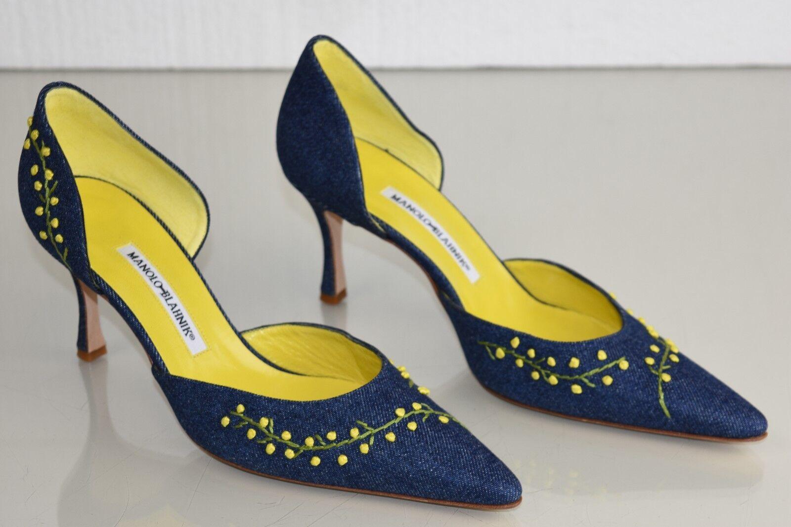bellissimo Nuovo Manolo Blahnik Bb Mimo Blu Denim Giallo Mimosa Mimosa Mimosa Dorsay scarpe 37 Rare  punto vendita