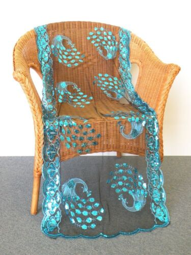 Extra Length Peacocks Sequined Scarf