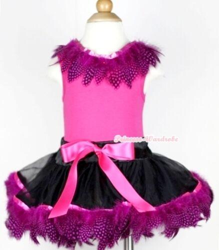 Black Hot Pink Peacock Feather Baby Pettiskirt Skirt Hot Pink Top Set 3-24Month