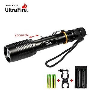 Ultrafire-8000-LM-CRIE-T6-LED-lampe-de-poche-Zoom-lampe-torche-velo-chargeur-DC