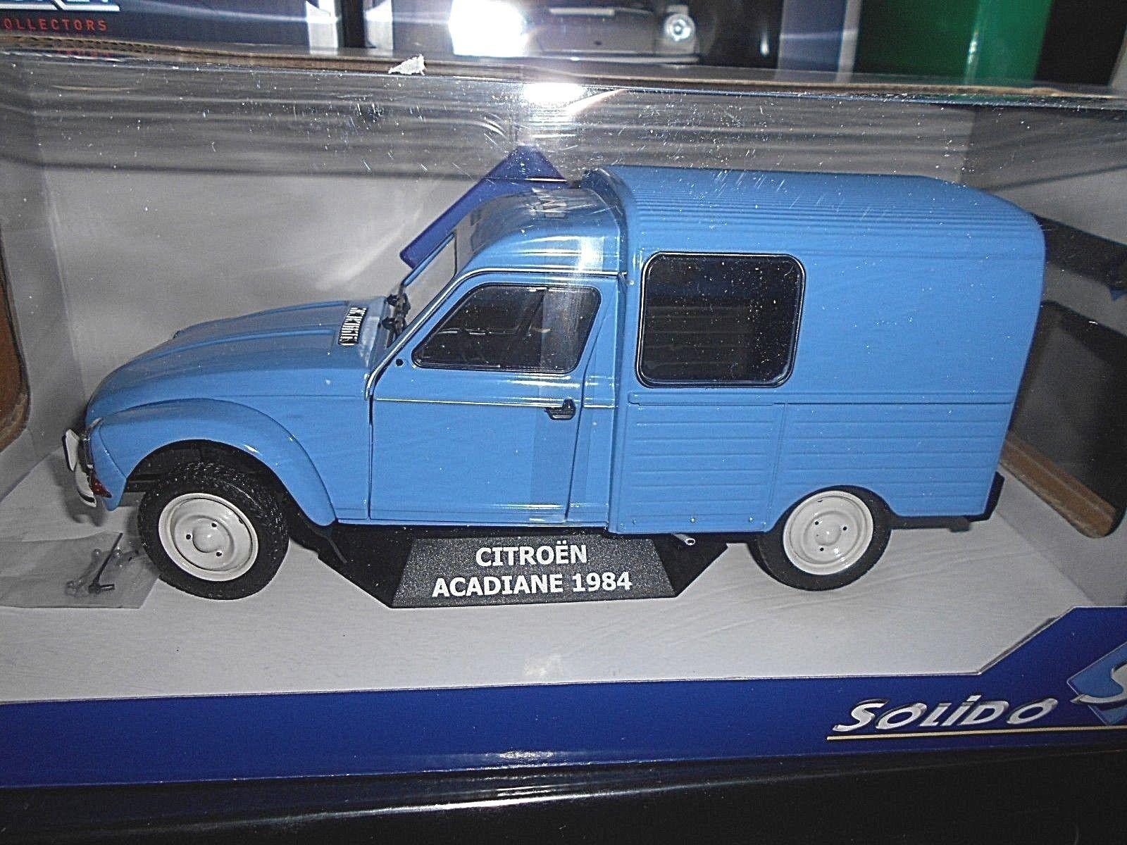 CITROEN DIANE ACADIANE encadré Bleu bleu 1984 SOLIDO métal RAR 1 18