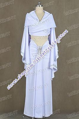 Star Wars Cosplay Padme Amidala Costume White Dress Cloak Uniform Halloween New