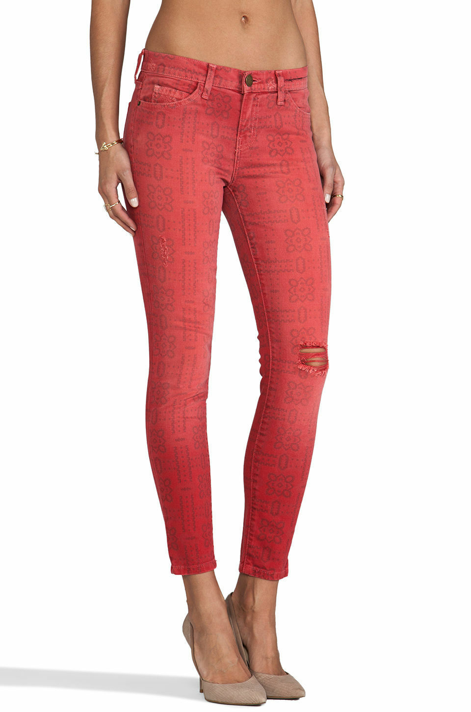Current  Elliott Skinny Jeans Women's New Sz 24 25 26 27  Stiletto Red Printed