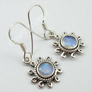 925-Sterling-Silver-Classic-RAINBOW-MOONSTONE-MADE-IN-INDIA-Earrings-1-2-034-NEW