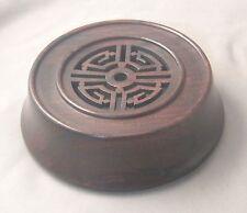 "4.75"" Brown Carved Rosewood Lid for Antique Chinese Porcelain Ginger Jar"