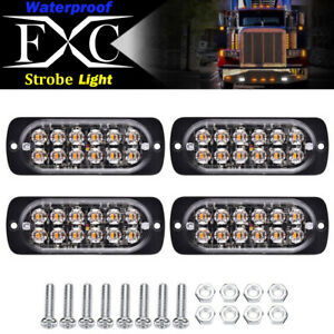 4x-White-12-LED-Strobe-Light-Bar-Truck-Hazard-Beacon-Flash-Warning-Emergency-36W