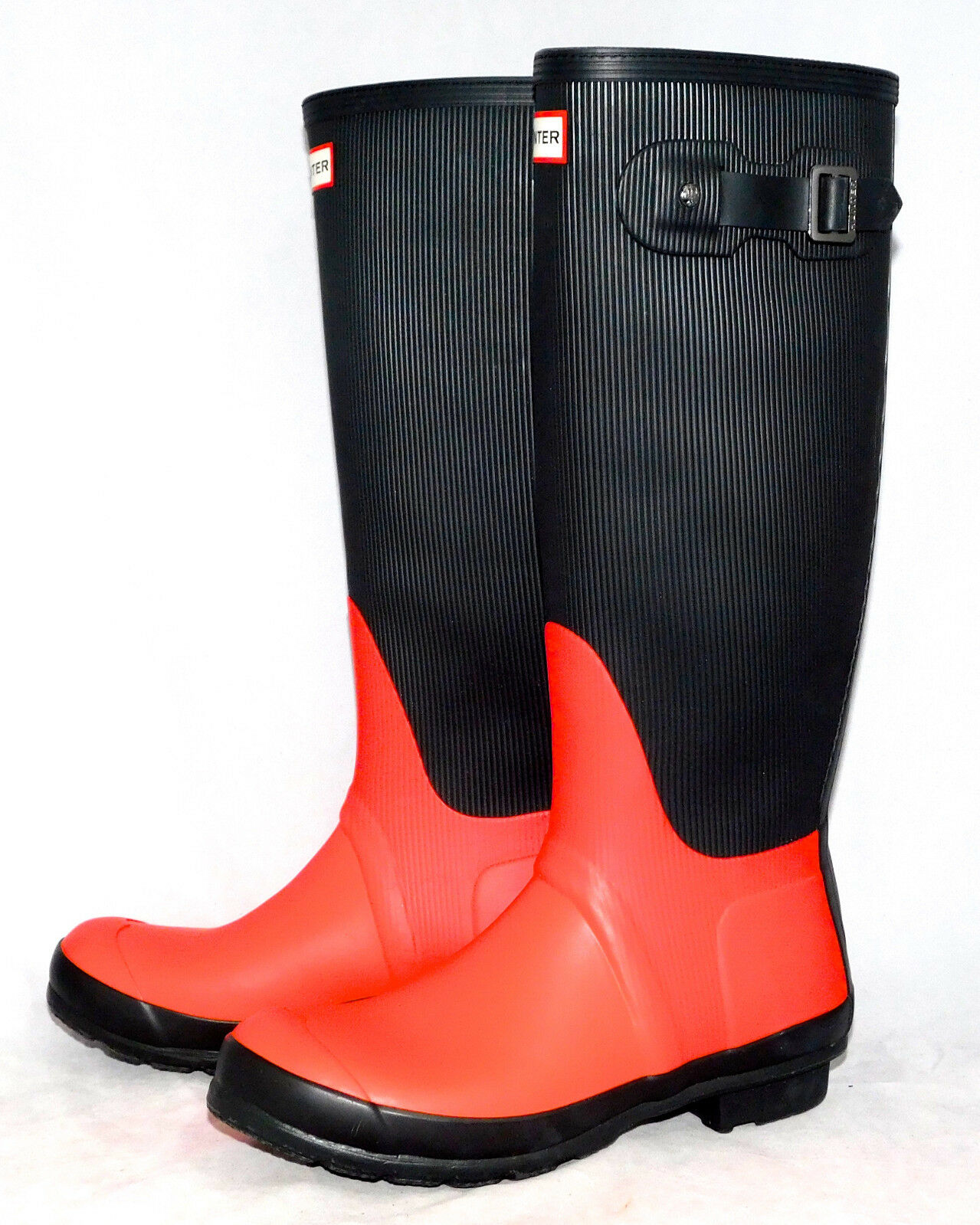 HUNTER Womens Original Tall Ribbed Ribbed Ribbed Leg Boot Coral & Black Size 7 Eu 38 762309