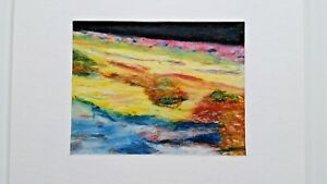 R-Neamer-1997-abstract-colorful-oil-on-paper-painting-EC-framed