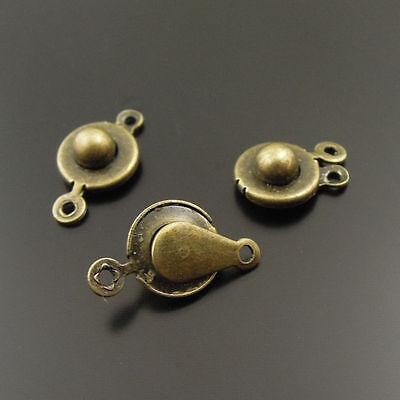 9mm Vintage Style Brass Bronze Round Snap Button Clasps Accessories 40pcs-20565