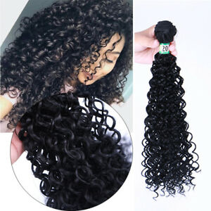 1-Bundle-Kinky-Curly-Weave-Brazilian-8A-Synthetic-Hair-Weft-Extension-Black